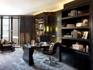 后现代风格书房纯黑色实木书柜装修效果图