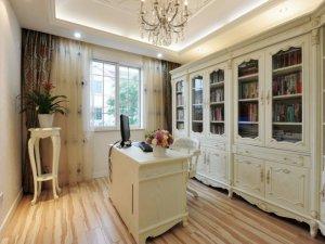 法式风格书房书柜装修效果图 白色玻璃门书柜图片