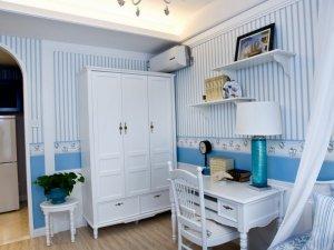 地中海风格卧室衣柜装修效果图 白色定制衣柜图片