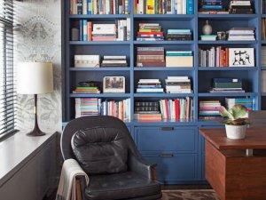 美式风格书房书柜装修效果图 蓝色书柜设计图片