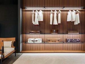 开放式简易衣柜设计效果图 卧室棕色衣柜图片
