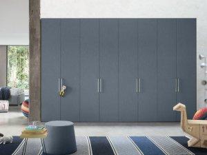 灰蓝色大衣柜设计效果图 主卧定制衣柜图片