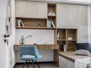 简约卧室实木书柜装修效果图 组合型书柜设计图