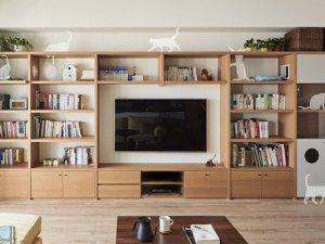 自然原木客厅背景书柜设计效果图 开放式书柜设计图