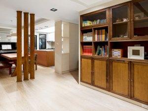 复古风格客厅实木书柜效果图 开放式书柜图片