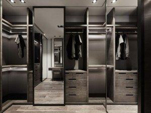 现代风酷黑衣帽间装修效果图 衣柜内部设计效果图