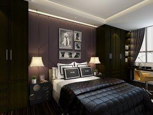 简约风卧室大衣柜装修效果图 黑色衣柜平开门图片
