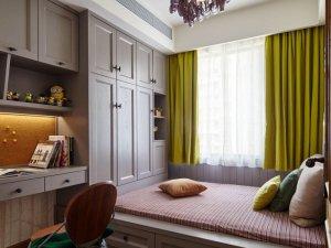 新中式卧室榻榻米衣柜效果图 灰色系衣柜平开门图片