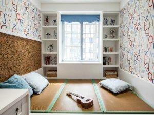清爽卧室榻榻米衣柜装修效果图 白色开放式储物柜图片
