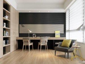 温馨书房木色衣柜装修效果图 书桌衣柜一体效果图