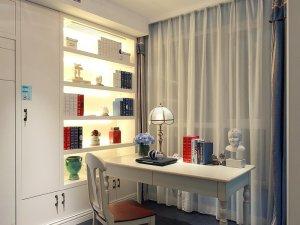 现代风书房衣柜设计效果图 白色平开门图片