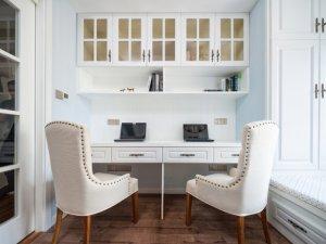 简美风书柜衣柜组合图片 白色榻榻米衣柜效果图