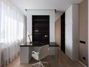 简约风书房装修效果图 木色卧室衣柜图片
