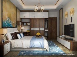 欧派衣柜效果图 新中式风格卧室家具OPA0001189