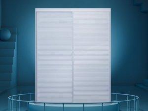 索菲亚衣柜图片 白色百叶推拉衣柜门效果图