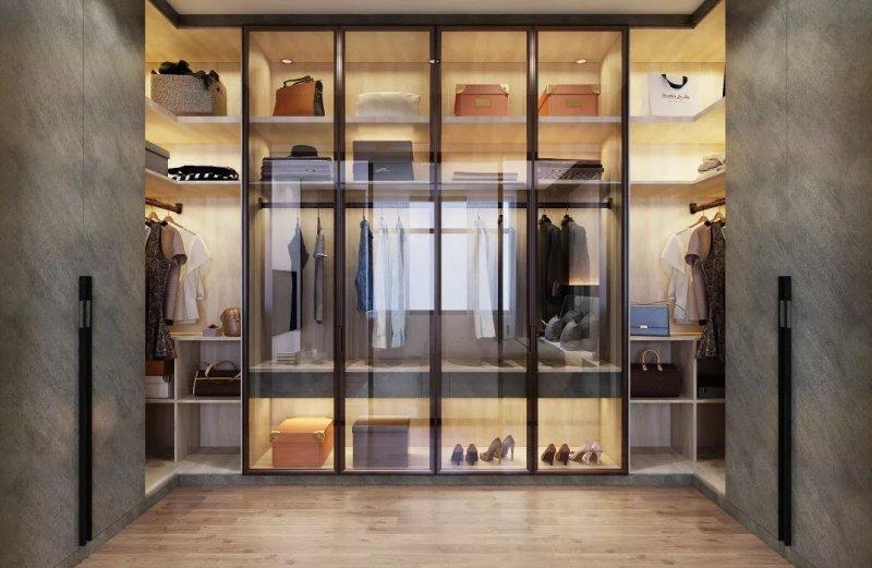 大气主卧室衣柜效果图 时尚玻璃衣柜图片大全