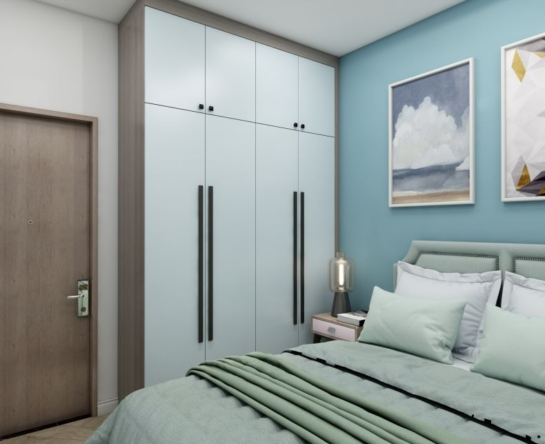 轻奢风卧室衣柜图片 木色平开门衣柜效果图