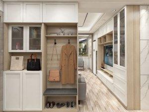 优雅白色玄关柜图片 入墙式整体衣柜效果图