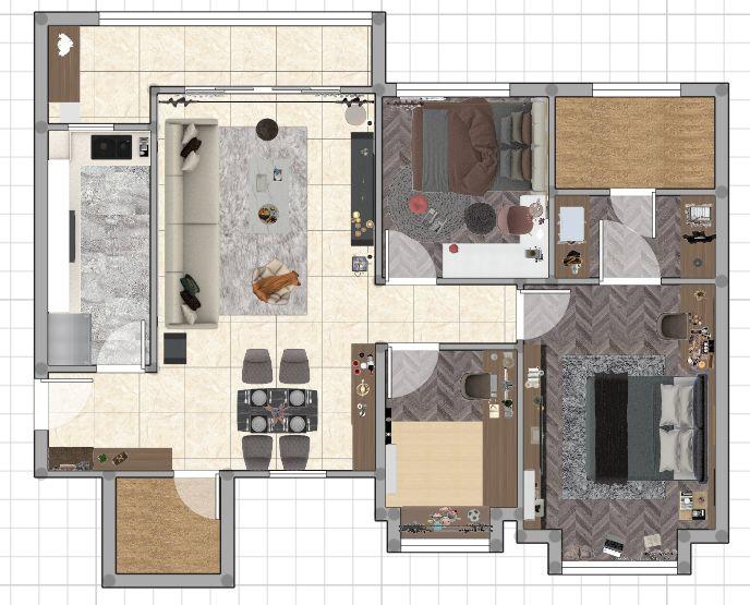 诗尼曼90㎡轻奢风家装设计 惬意舒适的生活方式
