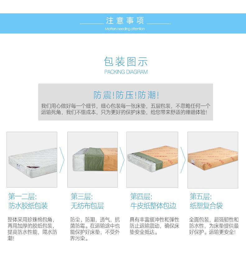 诗尼曼全屋定制 进口乳胶床垫独立弹簧3D椰棕软硬两用1.5 1.8m定做床垫