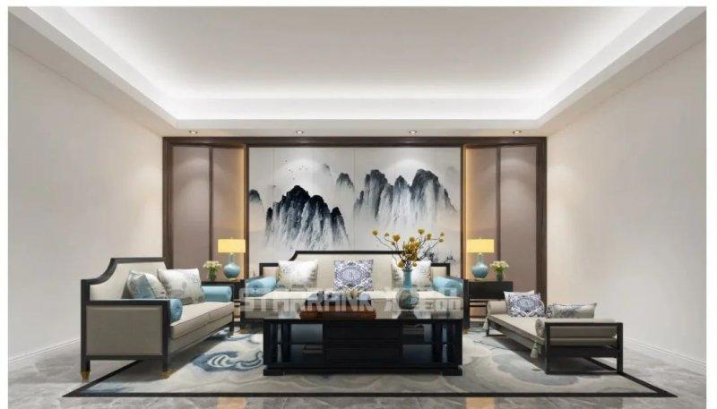 匯星品新中式風格背景墻茶幾圖片設計 彰顯東方風雅