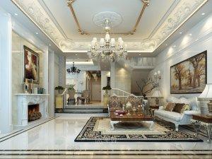 银都名墅别墅装修 欧式古典风格设计装修效果图