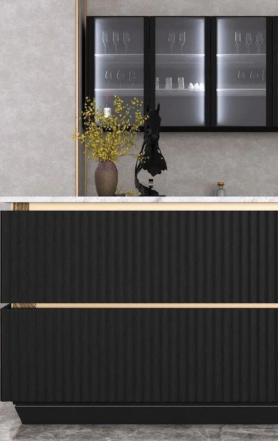 忠旺全铝家具  黑色系橱柜效果图