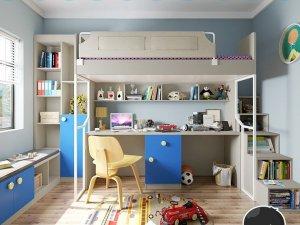 诗尼曼全屋定制 儿童房家具定制多功能组合柜效果图