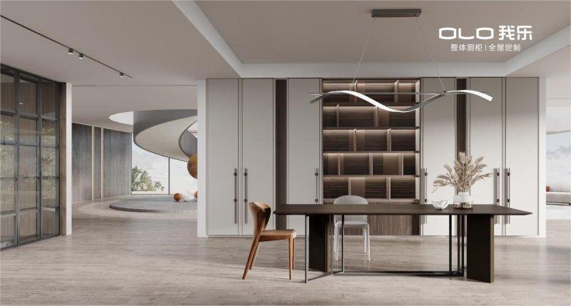 崇溯系列餐厅,是典型的新中式与新古典混搭。两边餐边柜设计,以居中的多层次开放展架为核心,在视觉上贯彻传统中式秩序与平衡的同时,极致的陈列与展示又能错落有致、灵动随心,体现新中式文化的刚柔相济。