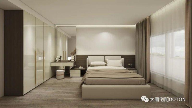 卧室:棕榈木纹+水墨流沙