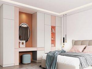 艾依格全屋定制 2021新品现代简约莫兰迪卧室系列效果图