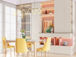 艾依格全屋定制 2021新品现代简约莫兰迪餐厅系列效果图