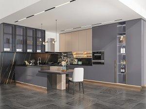 艾依格全屋定制 极简轻奢太空主义系列厨房效果图